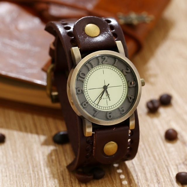 GNOVA Top Quality Genuine Leather Bracelet Watch Women Mens Wristwatch Retro Vin