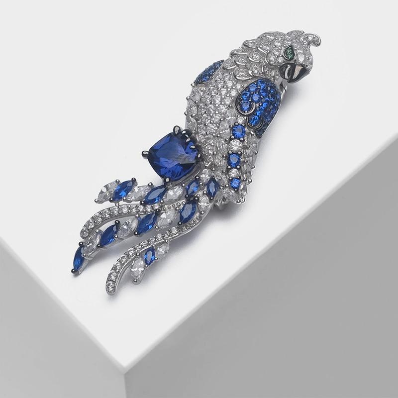 Broche de conception de perroquet en argent 925 focal Local broche brillante de mode