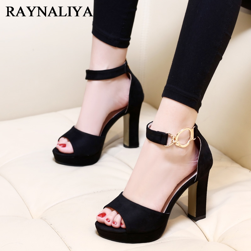 New Fashion Suede Leather Fashion Shoes Women Sandals Summer Open Toe Ankle Strap Sexy High Heels Black Ladies Shoes CH-A0055 summer new fashion blue purple feather straps women open toe sandals sexy t strap ankle buckle ladies high heels size42