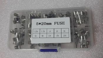 цена на 5*20 Fast Quick Blow Glass Tube  Assortment Kit, 5x20MM, 0.25A,0.5A 1A 2A 3A 5A   8A 10A 15A 20A/250V+ Box Free Shipping