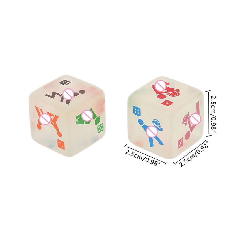 New 2 Pcs 25mm Noctilucent Dice Cube Adult Game Love Sex Dice Night Bar KTV Fun Game for Couples Playing Toys image