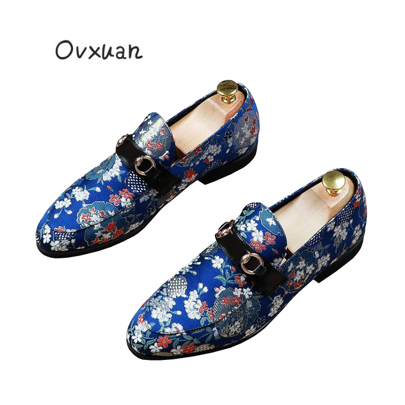 Italian Luxury Brand Mens Loafers Microfiber Leather Embroidered Metal Ring Casual Men Shoes Wedding Prom Dress Loafers Shoes