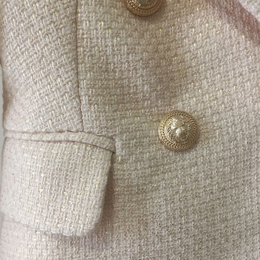2019 Spring High Quality Newest Jacket Women Double Breasted Metal Lion Buttons Golden Slim Blazer Feminino