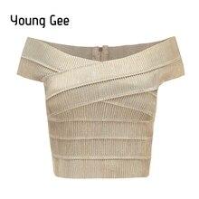 Young Gee, новинка, v-образный вырез, с открытыми плечами, Женский бандажный укороченный топ, сексуальный, бодикон, топы, летние, укороченные, для фитнеса, уличная одежда, blusas