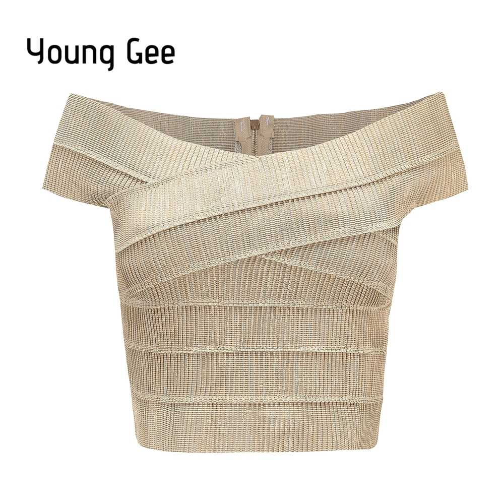 Jong Gee 2019 Nieuwe V-hals Off Schouder Vrouwen Bandage Crop Top Sexy Bodycon Tank Tops Zomer Cropped Fitness Streetwear blusas