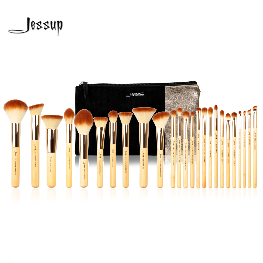 Jessup Brand 25pcs Beauty Bamboo Professional Makeup Brushes Set T135  & Cosmetics Bags Women Bag CB002 Make up brush tools jessup brand 15pcs beauty makeup brushes