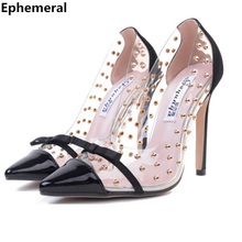 Lady big size 34-41 Fashion sexy Rivets Bow retro Clear pointed  toe super high heels shoes women pumps cover heels for party