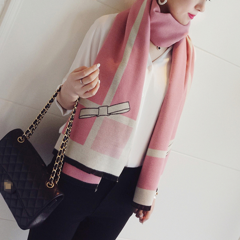 Image 4 - High quality Women Cashmere Scarf Ladies Long Bowknot Scarf Thick Warm Pashmina Brand Designer Shawl Women Wraps-in Women's Scarves from Apparel Accessories on AliExpress