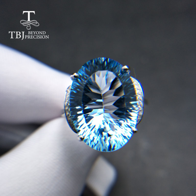 TBJ,Big size oval13*18mm concave cut blue topaz gemstone Ring in 925 sterling silver fine jewelry for woman with best gift boxTBJ,Big size oval13*18mm concave cut blue topaz gemstone Ring in 925 sterling silver fine jewelry for woman with best gift box