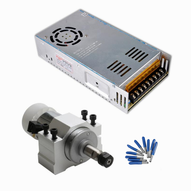 cnc milling machine tool 300W Spindle Motor DC Air Cooled Switching Power Supply Motor Driver 52MM Clamp ER11 collet router kits new 1 5kw air cooled spindle motor kit cnc spindle motor 220v 1 5kw inverter square milling machine spindle free 13pcs er11