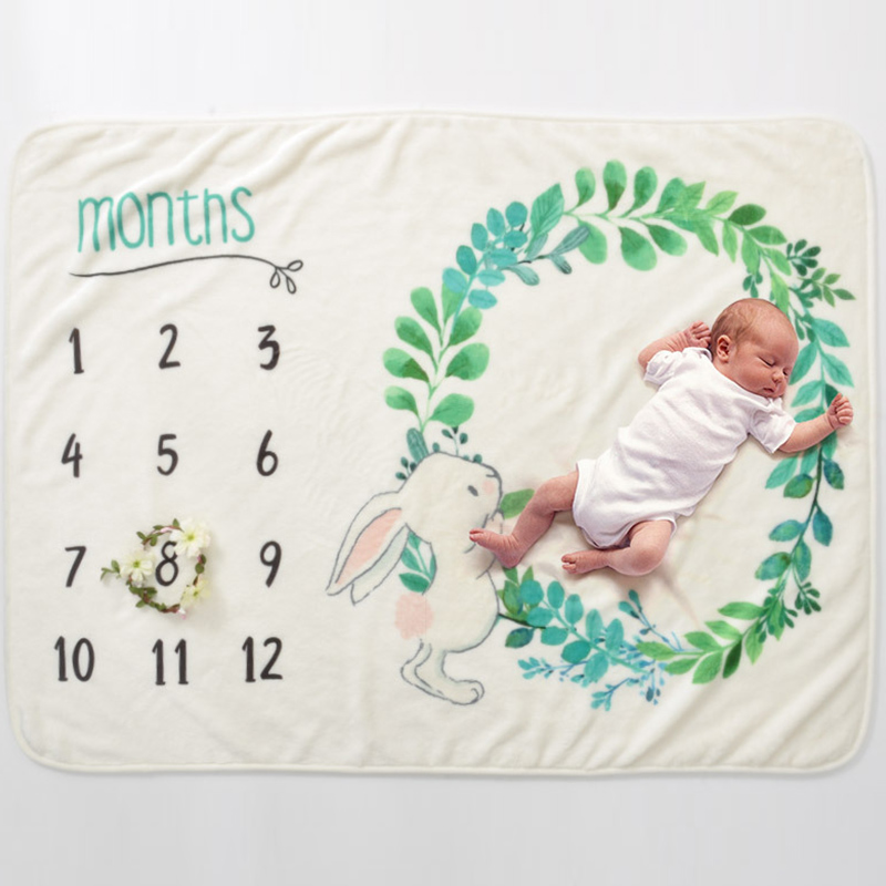 Infant Baby Milestone Blanket Photo Photography Prop Blankets Backdrop Cloth Calendar Boy Girl Photo Accessories 70*102CM 4
