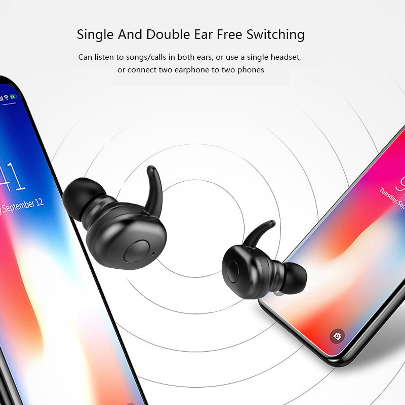TWS Headphones Bluetooth 5.0 Wireless Earphones Sports Earphone 3D Stereo Sound Earbud with Portable Mic and Charging box