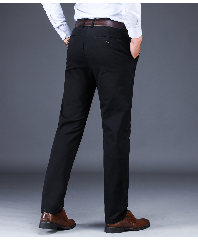 Mens Classic Trousers Black Summer Dress Pants Male Cotton Straight Fit Trousers Office Suit Work Pants Stretch Casual Pants Men