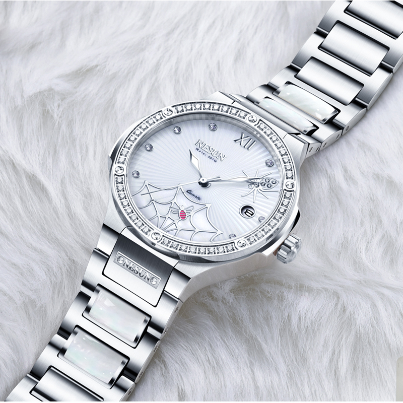 Suisse marque de luxe montre femmes NESUN montres pour femmes Quartz Relogio Feminino araignée horloge diamant montres N9910-2