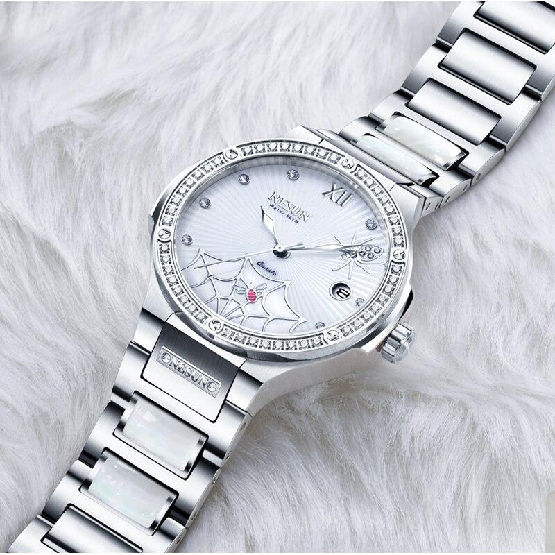 Szwajcaria luksusowej marki zegarka kobiet NESUN kobiet zegarki kwarcowe Relogio Feminino pająk zegar diament zegarki na rękę N9910 2 w Zegarki damskie od Zegarki na  Grupa 1