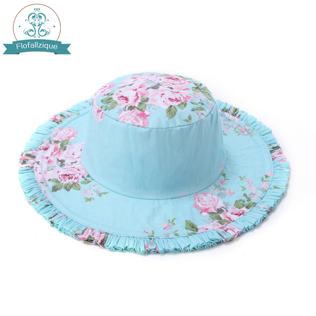 2018 Summer Girls Sun Hats Children s Beach Caps Kids Floral print Cotton  Baby Girls Bucket Hats Outdoor Sunhats e77d7cdf24f