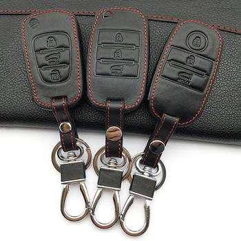 Górna warstwa skórzane etui na klucze futerał na klucze klucz pokrowiec do Kia Ceed Sorento cerato K3 K3 K4 K5 KX3 Sportage KX5 3 przyciski pilot tanie i dobre opinie VOMRCA Górna warstwa skóry Black and brown and coffee color Genuine Leather + PU + Stainless steel Keychain for Kia Ceed Sorento cerato K3 K3S K4 K5 KX3 Sportage KX5
