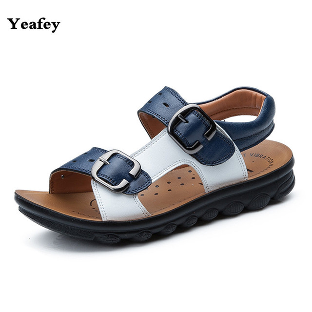5b1b935bca Yeafey Boys Sandals Kids Shoes 2017 Genuine Leather Sandals Baby Boy Summer  Children Shoes Eur Size 26-37 Beach Shoes Children