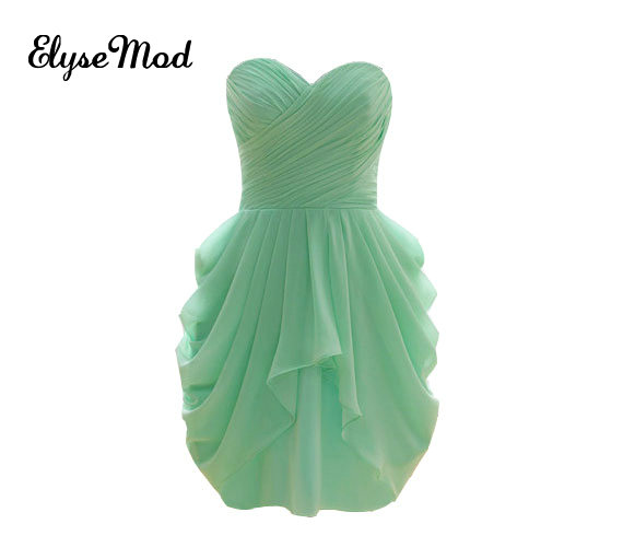 Merveilleuse a-ligne chérie robes de demoiselles d'honneur africaines en mousseline de soie courte menthe vert robe de mariée