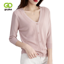GOPLUS 5 Colors Summer knitted Cardigans Womens Casual Pink V-Neck Single Breasted Three Quarter Sweater Coat Outwears