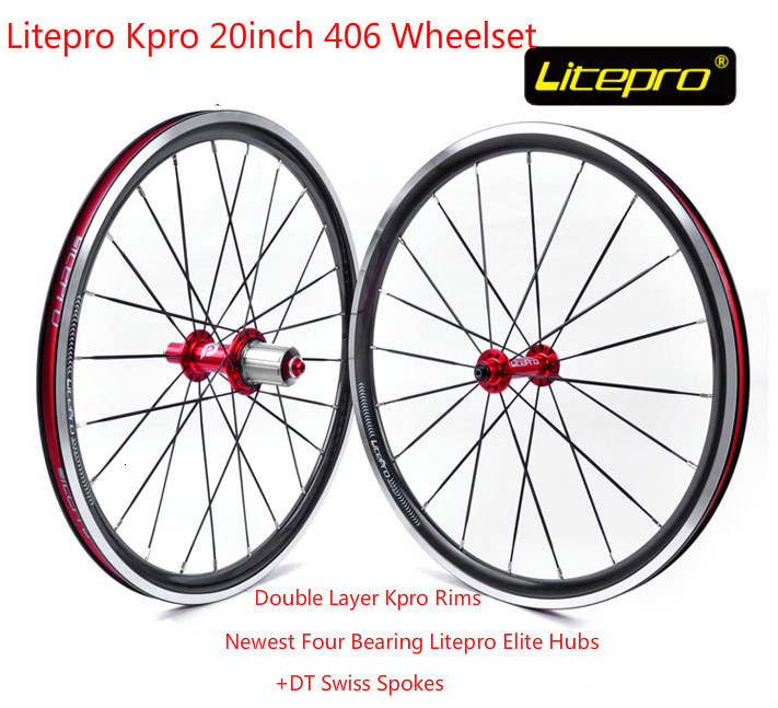 Lightweight Litepro Kpro 20inch Wheelset 100/130/135mm Bike Bicycle Wheels for Folding Bike BMX Parts new folding bike wheel set litepro 20inch 451 wheelset 74 100mm 130 135mm 14 16h 4beraing hub froth rear quick release wheels