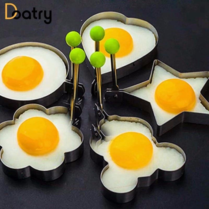 5pcs/set Egg Mold Stainless Steel Biscuit Frying Egg Rings Mold 5 Shape Omelette Mould Egg Pancake Ring Form Fried Kitchen Tools