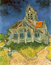 Top quality handpainted Vincent Van Gogh oil painting on canvas reproduction Leglise d'Auvers sur Oise, free shipping