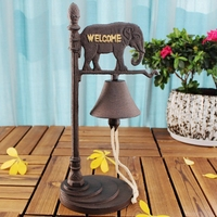 European Vintage Elephant with Gold Welcome Signs Design Cast Iron Hand Cranking Tabletop Dinner Service Calling Bell