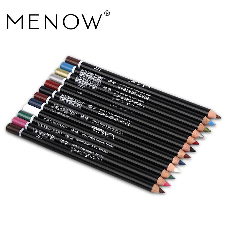 MENOW 12 Colors Eye Make Up Eyeliner Pencil Waterproof Eyebrow Beauty Pen Eye Liner Lip sticks Cosmetics Eyes Makeup