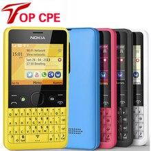 Восстановленный Nokia Asha 210 разблокированный GSM 2,4 ''две sim-карты 2MP QWERTY клавиатура только английский мобильный телефон