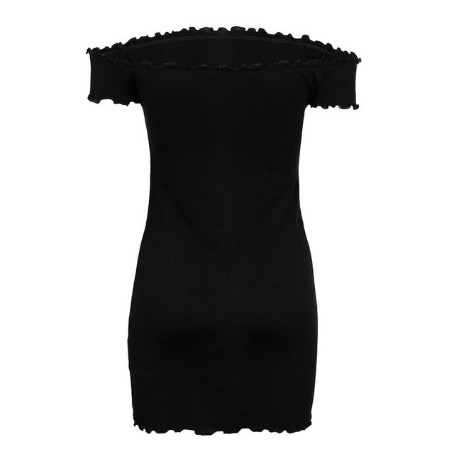 feitong Womens Off Shoulder Mini Dress Ladies Short Sleeve Crimping Party Dress Slash Neck Solid Color High Quality Best Selling