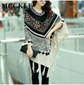 MCCKLE  Pull Pullover Cardigan Womens Capes And Ponchoes Winter Cape With Tassel Women's Sweater Vintage Bohemian