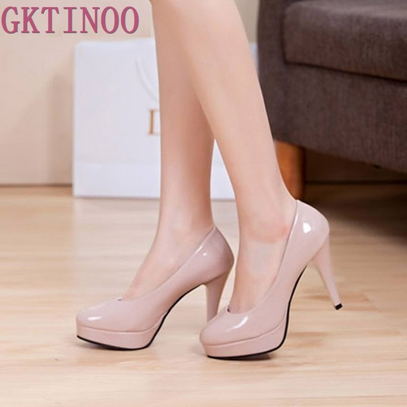 Solid color japanned leather platform round toe high heels shallow mouth thin heels work women shoes bride wedding shoes