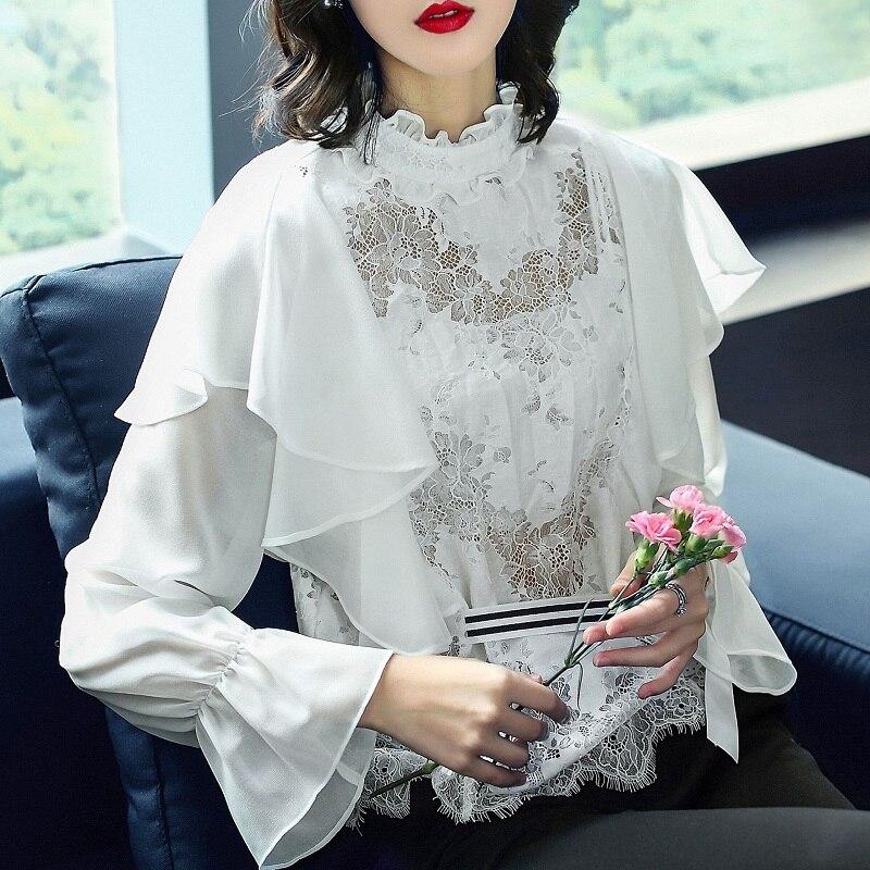 Nouveauté hauts 2018 automne Designer Blouse femmes dentelle Patchwork volants Sexy noir blanc dentelle Blouse chemise Feminino Blusas
