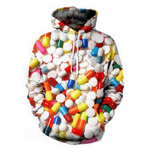 Fashion Hoodies Women Colorful 3D Print Lots of Pills Sweatshirts Bright Autumn Winter Pullovers Long Sleeve Streetwear Clothing(Hong Kong,China)