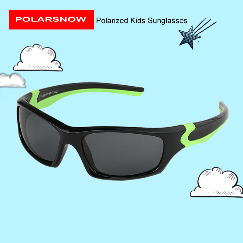 POLARSNOW Kids Sunglasses 2017 Polarized Brand Designer Childrens Sun Glasses Baby Eyeglasses 100%UV Protection Oculos De Sol hats