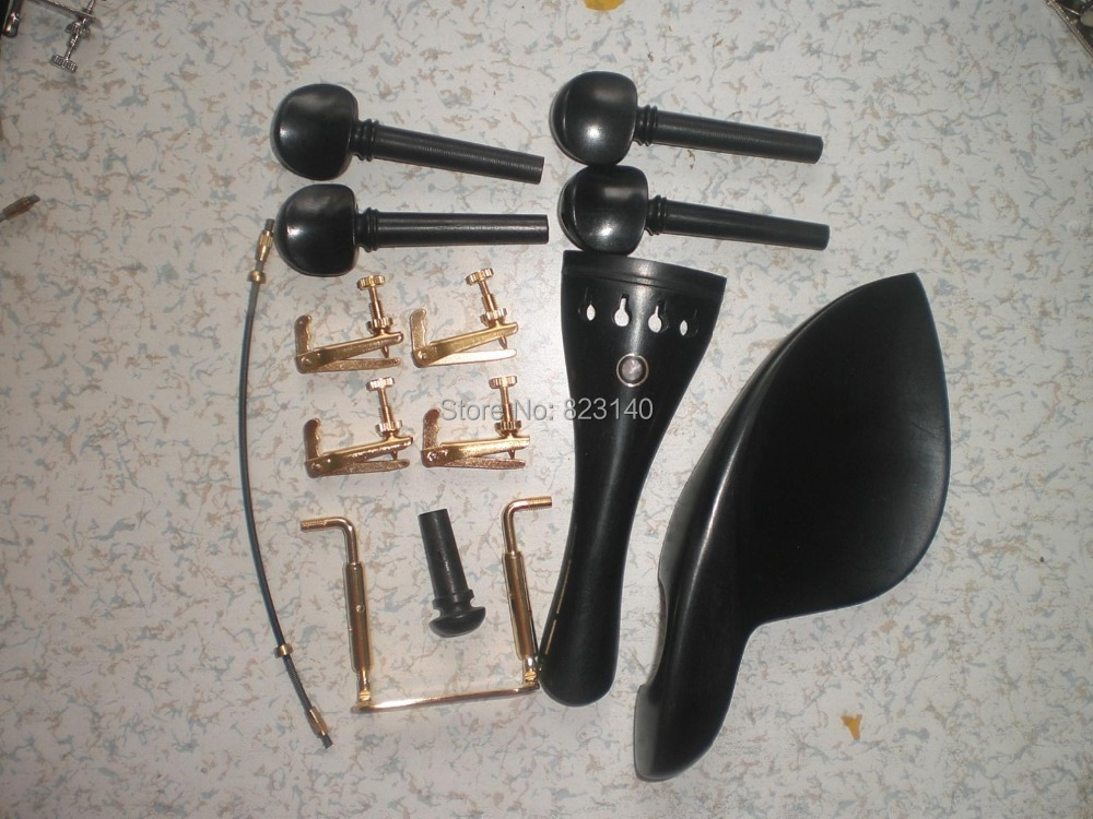 5 Sets EBONY Violin Parts 4/4 with Gold color fine tuner & Chin rest clamp & Tail gut free shipping 4 4 size 430c pernambuco cello bow high quality ebony frog with shield pattern white hair violin parts accessories