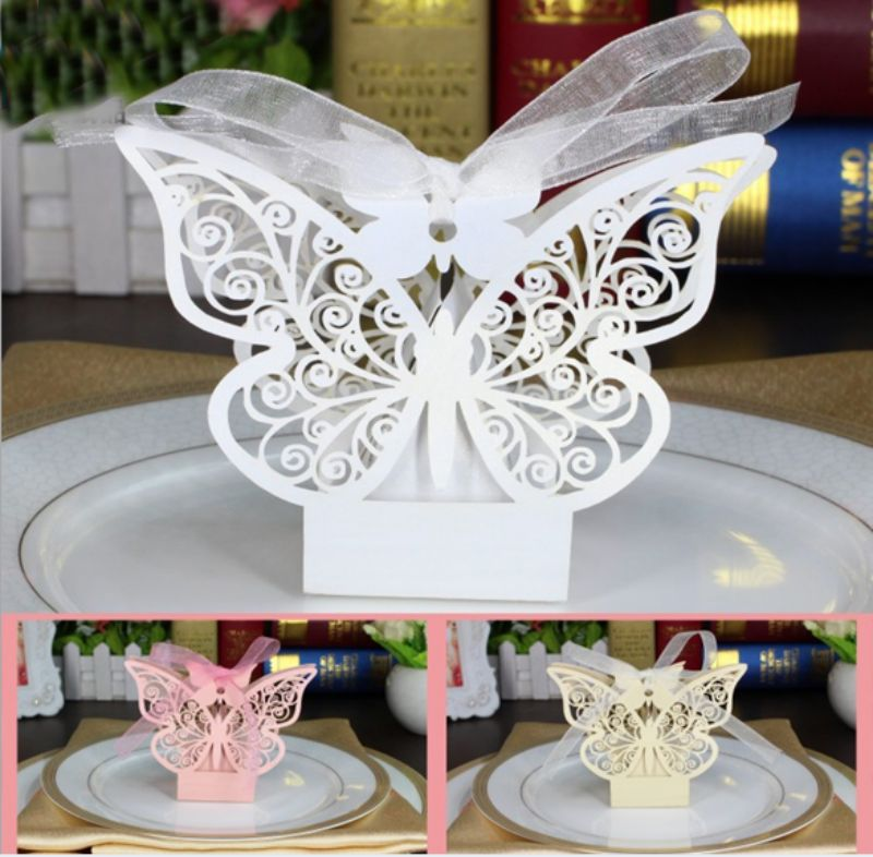 100 X Lovely Laser Butterfly Style Candy Boxes Chocolate Gift Box Babyshower Baby 1st Birthday