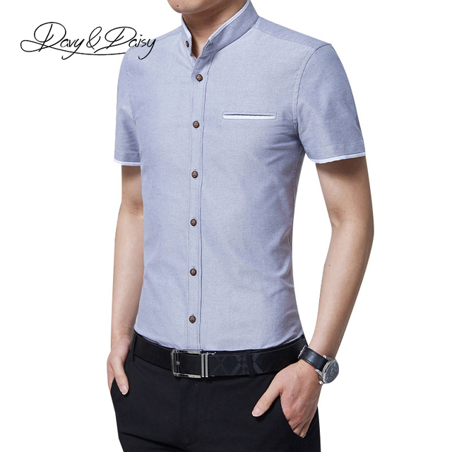 587ba03207 US $16.22  Davydaisy uomini camicia collo alla coreana maniche corte  classica solid slim fit marca clothing camicia uomo ds091 in Davydaisy  uomini ...