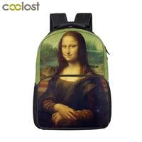 Mona Lisa School Bags for Kids Eiffel Tower Backpack for Teenager Women Men Travel Bags Big Space Laptop Animal School Backpack
