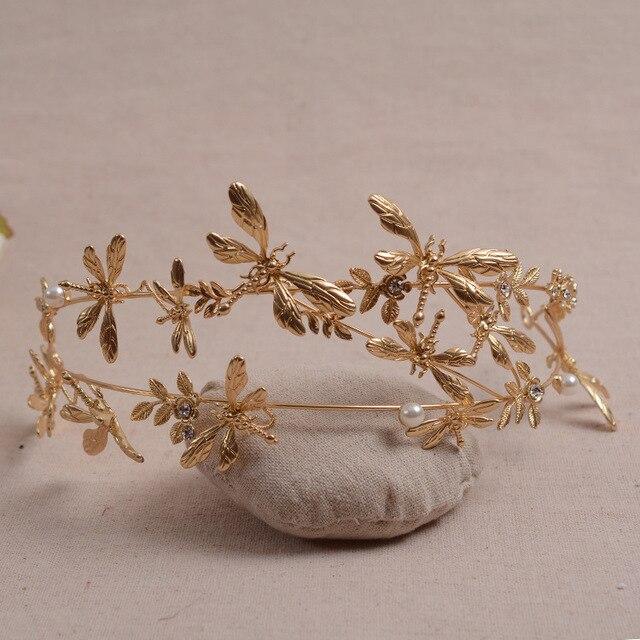 sweet temperament bride Asian golden Dragonfly Tiara wedding hair accessories wholesale