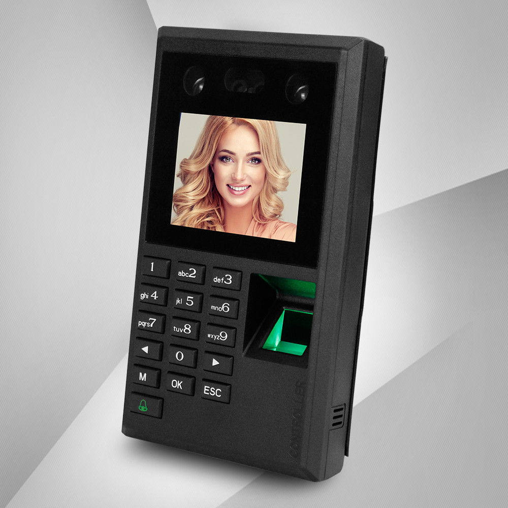 2 8inch Facial Recognition Device USB Fingerprint Attendance Machine Access Control Keypad Reader Time Card Check