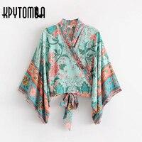 Boho Vintage Peacock Floral Print Short Kimono Women 2018 New Fashion Bow Tie Batwing Sleeve V