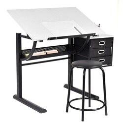 Einstellbare Ausarbeitung Tisch Kunst & Handwerk Zeichnung Schreibtisch w/Hocker Metall Schule Schreibtische Set HW52946