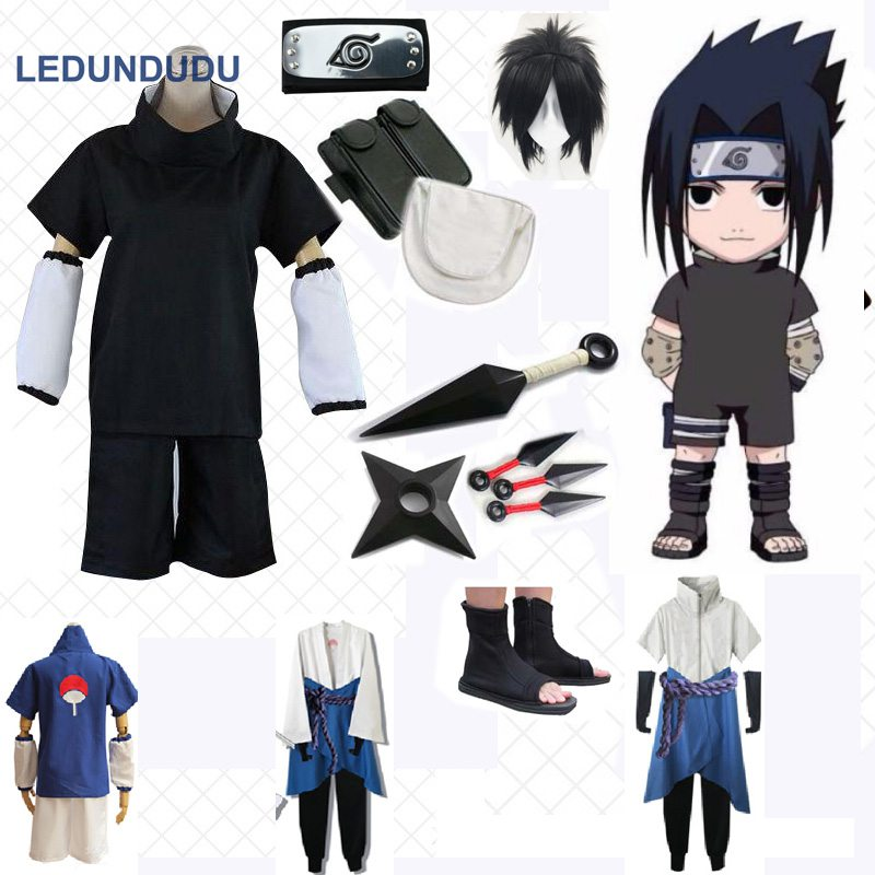 Anime Naruto Uchiha Sasuke Cosplay Costumes 4 styles Men Fancy Party Uniform Outfit with Weapon Props for Halloween Clothing