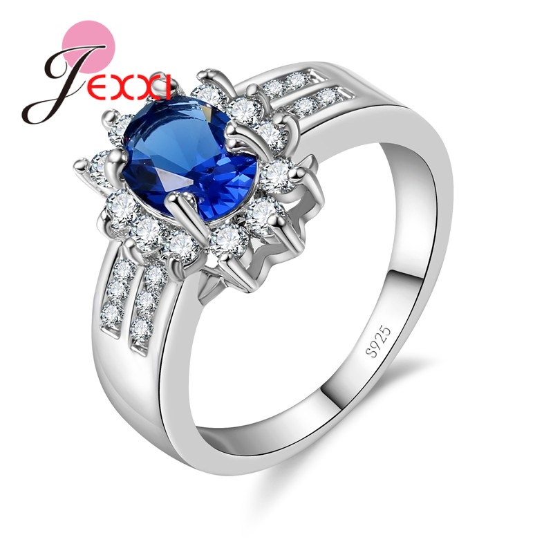 JEXXI Brand Romantic Brilliant Flower Crystal Ring 925 Sterling Silver Engagement Jewelry Multi-color Optional