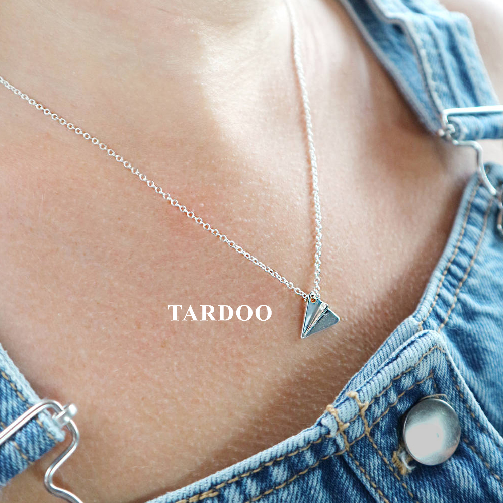 Tardoo Really Sterling Silver 925 jewelry Necklaces for Women Aircraft Pendants Trendy Simple Necklaces Fine Jewelry tardoo 925 sterling silver women s rings geometry trendy style minimalist skeleton classic ring in ring for women fine jewelry