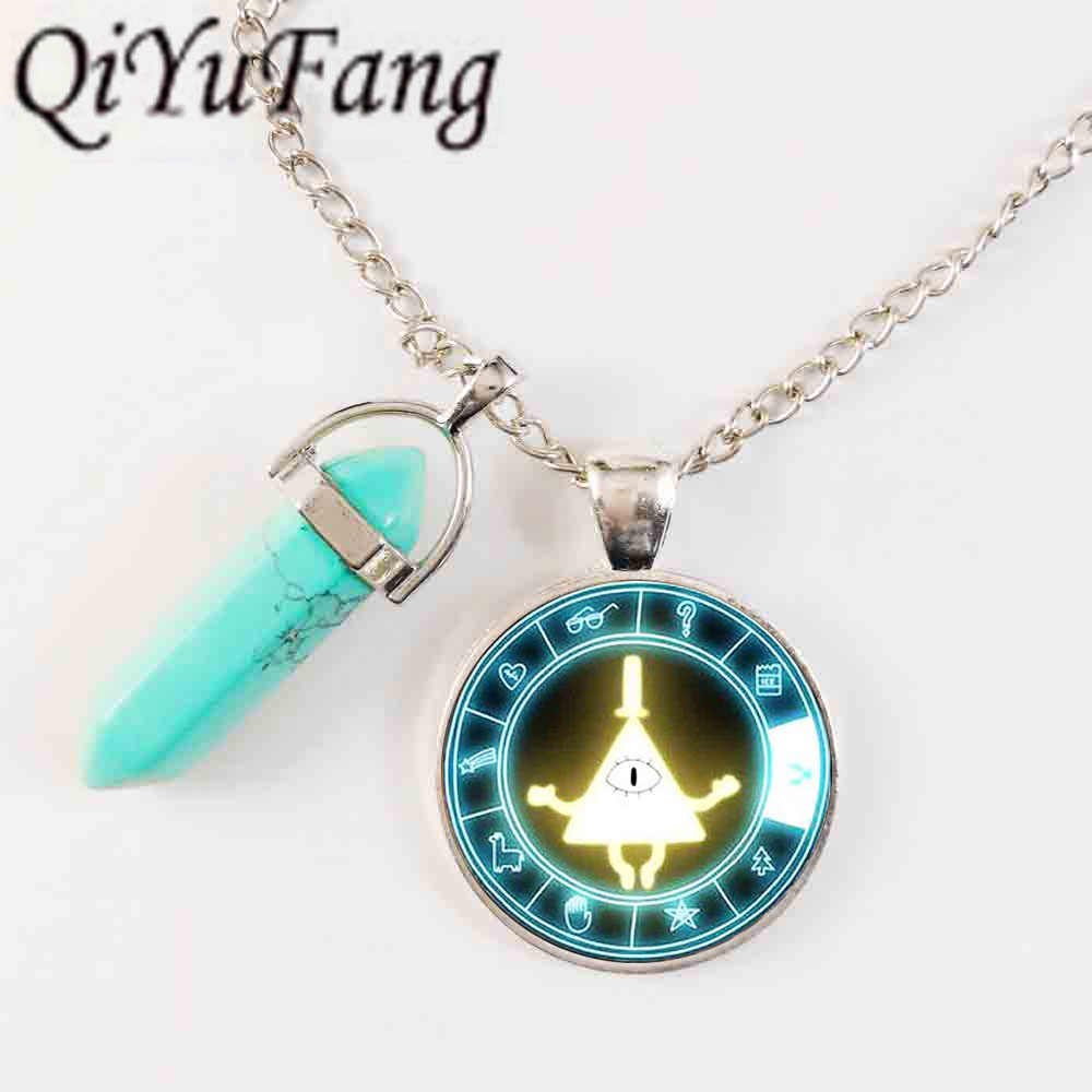 QiYuFang jewelry With Blue Crystal Steampunk glass Drama Gravity Falls BILL CIPHER WHEEL Pendant Necklace 1set/lot mens vintage