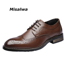 Misalwa Mens Classic Shoes Leisure Heel Brush Dress Brogue Homens New Low Middle Derby Business Carve Pattern Casual Oxfords