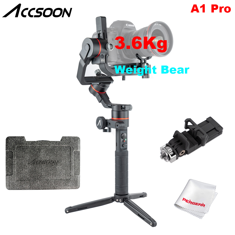 Accsoon A1 Pro Wireless Image Transmission 3 Axis Handheld Gimbal Stabilizer 3 6Kg Payload for DSLR
